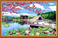 荷花池风景装饰画