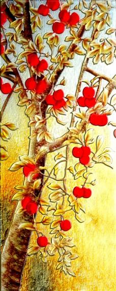 富贵花卉装饰背景墙