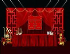 中式婚礼签到台背景