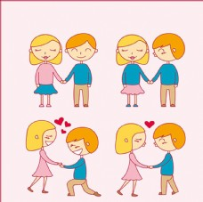 卡通手绘情人节情侣