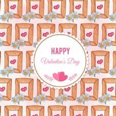 水彩情人节花卉相框背景