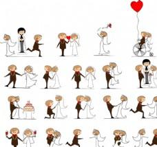 卡通结婚人物素材