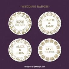 圆形婚礼徽章