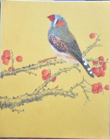 国画苹果与鸟图片