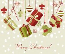 圣诞饰品及礼品盒背景
