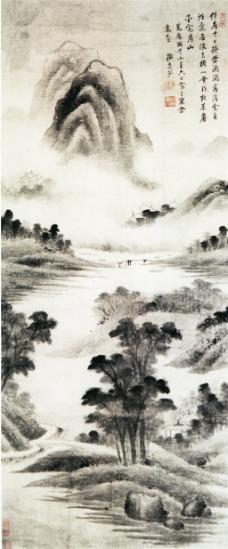 雨景山水图装饰画