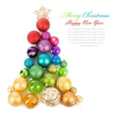 矢量圣诞球圣诞树素材图片