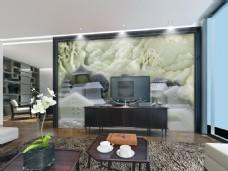 中国风格山水画玉石雕刻背景墙设计素材