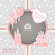 粉红色边框的生日卡
