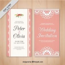 粉红婚礼卡复古风格
