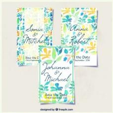 婚礼卡套手绘的叶子