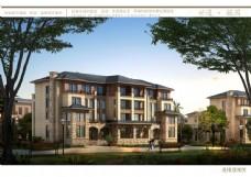 别墅小区建筑设计透视图片