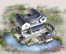 别墅风景画图片