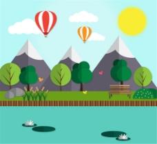 绿色郊外热气球和雪山风景矢量素材