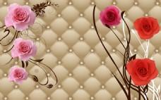 抽象花卉电视墙装饰画