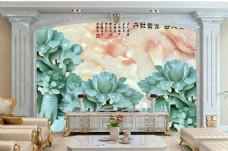 荷叶花卉背景墙