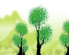 抽象树木背景墙