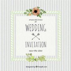 婚礼邀请与条纹老式风格