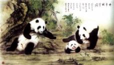 熊猫国画图片
