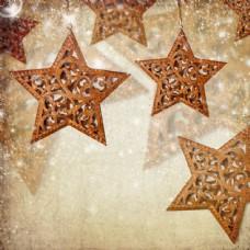 镂空五角星与梦幻光斑图片