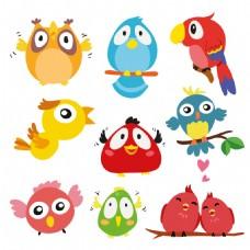 彩色可爱卡通鸟类动物