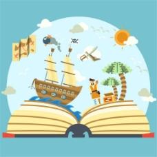 书中的海盗世界立体书插画矢量素材