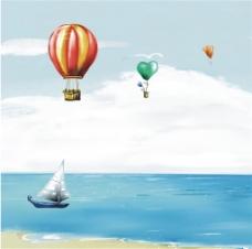 海滩热气球装饰画