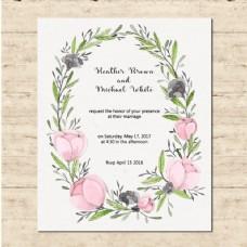 可爱的婚礼卡与花框架