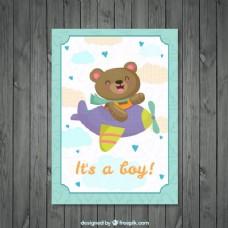 在smallplane婴儿洗澡卡漂亮的熊