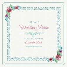 装饰婚礼框架与水彩花卉细节