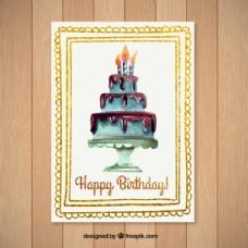 水彩画的生日卡
