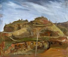 山下的村庄油画图片