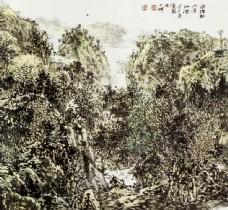 树木山峰风景画图片