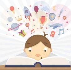 卡通儿童节快乐看书的孩子