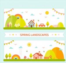 2款小镇春季风景banner