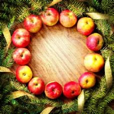 圣诞树与苹果边框图片