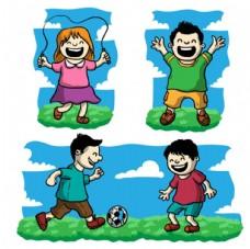 卡通儿童节快乐运动的孩子