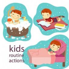 儿童节快乐睡觉前的孩子