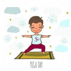 卡通儿童节练瑜伽的男孩