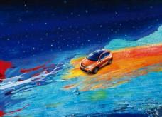 彩色油画水彩泼墨夜空汽车行驶