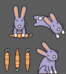 卡通兔子 胡萝卜