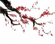 手绘水墨樱花背景