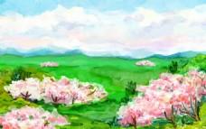 手绘水彩春天树林插图