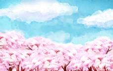 手绘水彩樱花林插图