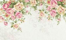 水彩花卉背景墙
