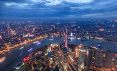 上海陆家嘴金融外滩夜景