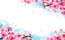 漂亮的手绘水彩樱花背景