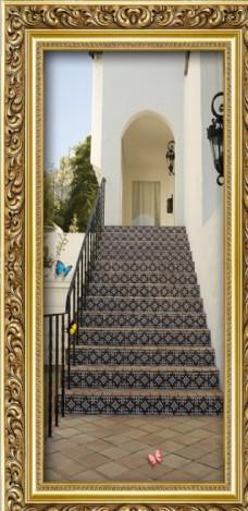 歐式樓梯玄關走廊蝴蝶背景墻