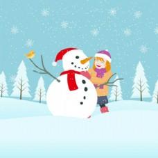 卡通圣诞节和雪人一起的孩子