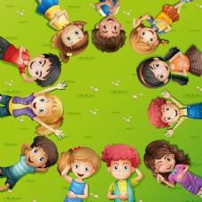 卡通儿童节草坪上的孩子